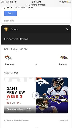 2 Ravens vs Broncos Tickets 150$ Section 113 for Sale in Baltimore, MD
