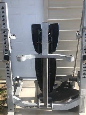 Olympic bench press squat rack incline declined military shoulder leg and preacher attachments comes with barbell curling bar an weights for Sale in Hesperia, CA