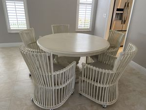 Round table, comfortable cushion chairs with wheels. Leaf goes in to be larger with 6 chairs for Sale in Highland Beach, FL
