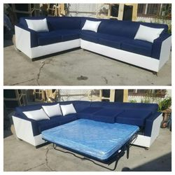 NEW 7X9FT DOMINO NAVY FABRIC COMBO SECTIONAL WITH SLEEPER COUCHES for Sale in Henderson,  NV