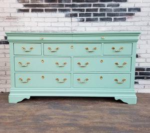 Credenza/ Shabby chic. Dresser.9 drawers sea foam green/gold for Sale in Costa Mesa, CA