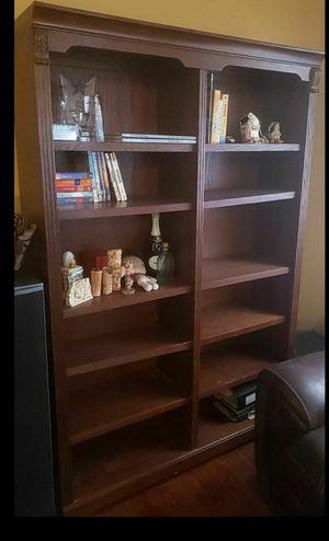 Double bookcase walnut for Sale in Las Vegas, NV