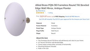 "ALLIED BRASS Frameless Round Tilt Beveled Edge Wall Mirror Antique Pewter 22"" for Sale in Clovis, CA"