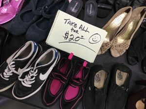 $20 takes all 24 pairs of womens shoes sneakers heels flats wedg sandals boots sz 6 6.5 7 7.5 8 8.5 black pinl steve madden vans nike via spiga for Sale in Corona, CA