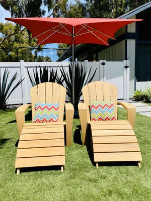 Original Smith & Hawken Teak Adirondack Chairs w Footrest / Patio / Outdoor / Umbrella & Cushions not included / Like New / Home & Garden / Furniture for Sale in Chula Vista, CA