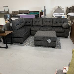 Brand new sectional in charcoal. Cozy couch with EZ clean fabric for Sale in Norfolk, VA