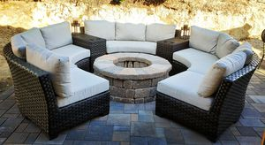 New custom design outdoor wicker patio furniture resin lawn lounge round sectional set for Sale in Chula Vista, CA