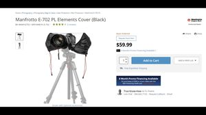 Camera Rain Cover Manfrotto E-702 for Sale in Lakeland, FL