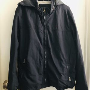 Mens Tommy Hilfiger jacket full zip quilted lining flag logo navy blue (XL) pick up only for Sale in Alexandria, VA