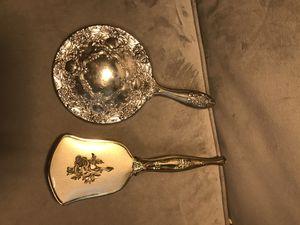 Vintage antique handheld mirror vanity mirror and hairbrush for Sale in Nashville, TN