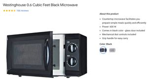 Westinghouse Microwave 0.6 Cubic Feet compact size for Sale in San Francisco, CA