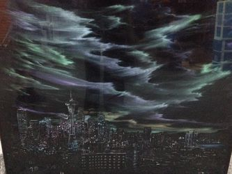 """Seattle skyline picture frame glass painting art photo Joe Sandor 32""""x29"""" for Sale in Puyallup,  WA"""
