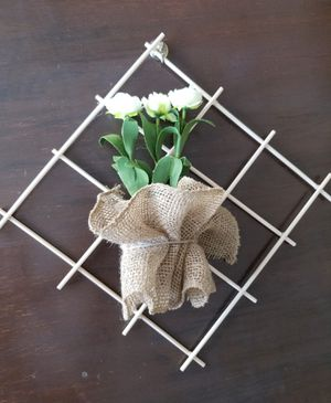 Decorative burlap sack wall pot flower handmade for Sale in Monrovia, CA