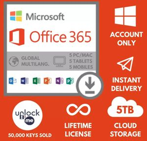 Microsoft Office 365 2019 Pro Plus Lifetime Account For 5 Pcs Mac Win 5 TB Cloud for Sale in New York, NY