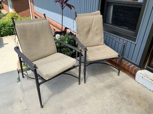 Pick up today 2 reclining XL SIZE patio chairs + cushions! for Sale in Monroeville, PA