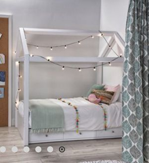 Taylor White Twin Canopy House Bed With Trundle for Sale in Manhattan Beach, CA