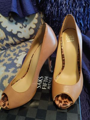 Saks Fifth Tan Open Toe Nude Stiletos w/ Leopard Print Trim Sz.9 for Sale in Brusly, LA
