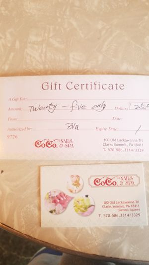 Gift certificate to cocos in Clark's summit pa for Sale in Scranton, PA