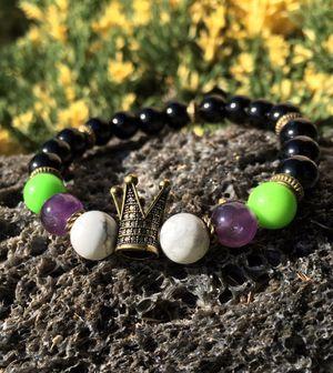 """Joker inspired"" Crown, Amethyst, Howlite, Green emperor, Black Obsidian healing protection bracelet. for Sale in Los Angeles, CA"