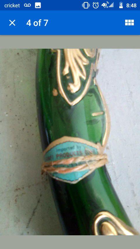 Vintage antique Barsottini gun-shaped Vino Rosso green/gold empty wine bottle