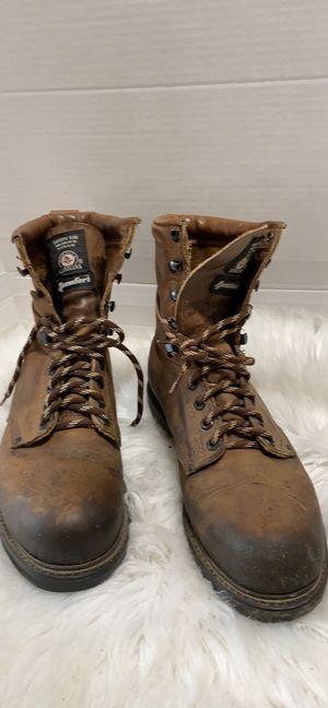 Vintage Carolina Mens 8.5 Leather Steel Toe Outdoor 4Comfort Work Boots Brown for Sale in Dearborn, MI