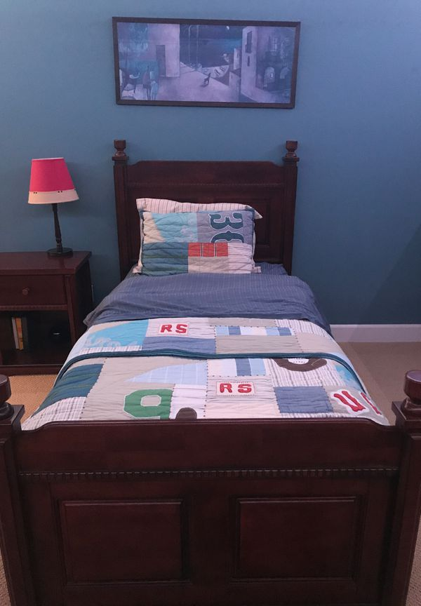 Home furniture set with dresser, desk and chair, bookshelf, nightstand, and twin size bed with Pottery Barn duvet and quilt set (bedding included)