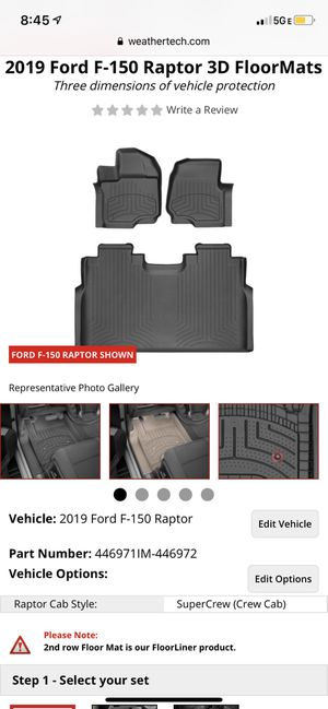 WeatherTech FloorMats for F-150 Raptor for Sale in Lombard, IL