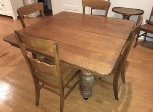 100 year old solid oak antique dining room table w/ 6 chairs for Sale in Fort Belvoir, VA