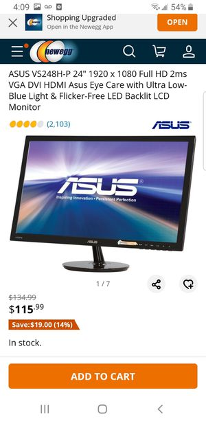 Gaming monitor for Sale in Lowell, MA