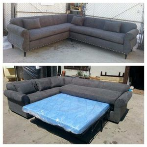 NEW 7X9FT CHARCOAL MICROFIBER COMBO SECTIONAL WITH SLEEPER COUCHES for Sale in Las Vegas, NV