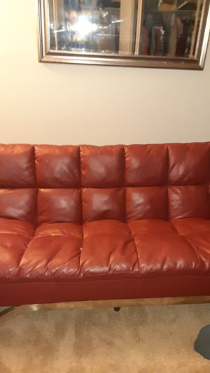 Red leather futon for Sale in Denver, CO
