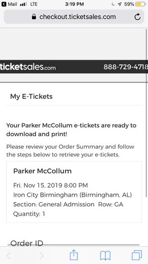 Parker McCollum Ticket IRON CITY Nov. 15th for Sale in Birmingham, AL