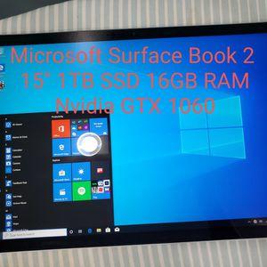 "LIKE NEW Microsoft Surface Book 2 15"" 1TB SSD 16GB RAM Nvidia GTX 1060 for Sale in Lynnwood, WA"