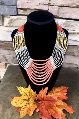 Vintage seed beaded necklace multilayer statement necklace for Sale in San Bernardino, CA