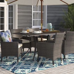 Beachcrest home-Tellara outdoor 7 piece patio dining set with cushions for Sale in Westford, MA