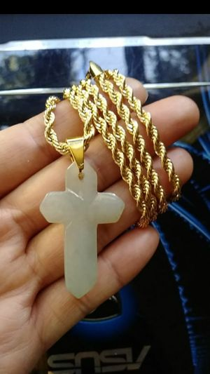 "(2)Estate genuine green jade jadeist cross pendant 14k Italy gold plated rope chain 24"" 4mm for Sale in El Sobrante, CA"