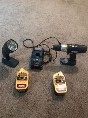 Ryobi 18 volt drill w/charger and Ryobi Flashlight for Sale in Wichita, KS