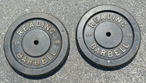 Reading Barbell 50 LB Plates Pair Vintage for Sale in Manheim, PA