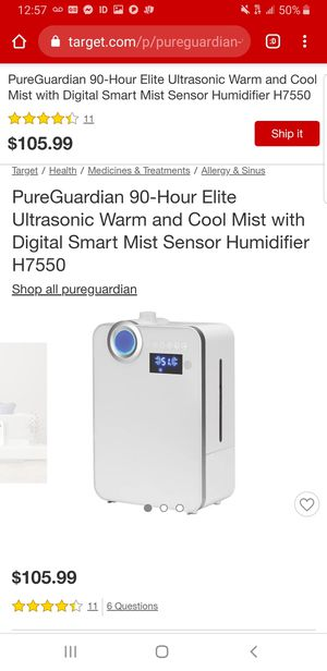 Pure Guardian 90 hr Humidifier for Sale in Conyers, GA
