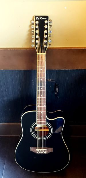 New 12 String Acoustic Electric Guitar Black Combo with Gig Bag & Accessories Guitarra Electrica Acústica Docerola 12 Cuerdas for Sale in South Gate, CA