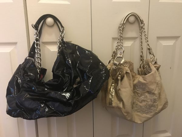 HOBO SHAPE BAGS- SHINY BLACK / CREAM & GOLD