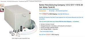 Barker Manufacturing Company 1212.1017 11916 20 Gal. Water Tank Kit for Sale in Pooler, GA