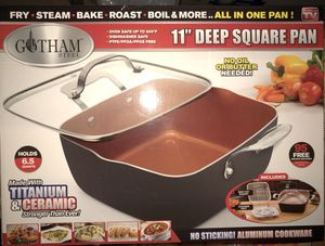 "Gotham Steel 1492 XL 11"" Copper Deep Square All in One 6 Qt Casserole Chef's Pan- 4 Piece Set for Sale in Las Vegas, NV"