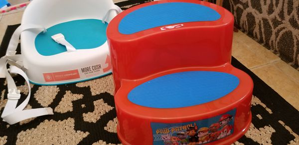 Tub seat & child step. Booster seat by Prince Lion & stool Paw Patrol $10 total. Gently used