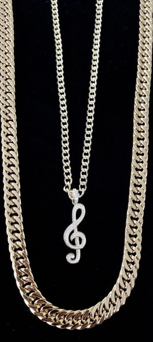 MUSIC NOTE FULL DIAMONDS CZ 18K GOLD CHAIN ⭐️ BLACK FRIDAY 24 HOURS SALE!!!!! CLICK MAKE OFFER NOW! ⭐️ for Sale in Miami Beach, FL