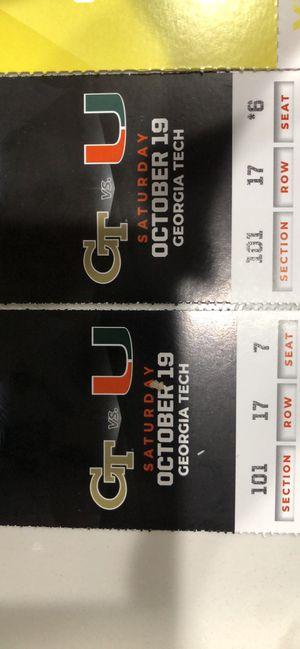 UM vs Georgia Tech for Sale in Miami, FL