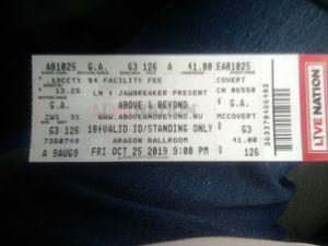 Two tickets to above and beyond concert tour for Sale in Bedford Park, IL