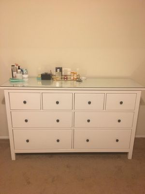 IKEA white hem new dresser w glass top for Sale in Baltimore, MD