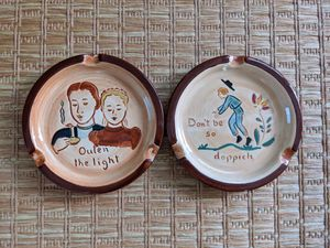 Set of 2 Vintage Pennsbury Pottery Antique Ashtrays for your mid century modern dining or coffee table for Sale in Playa del Rey, CA