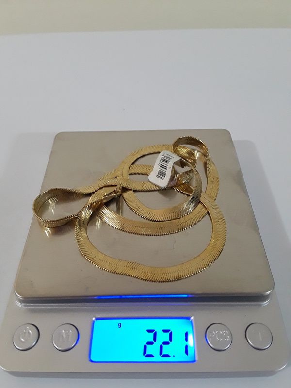 """22"""" Herring Bone 14k Real Gold with Fast Shipping."""